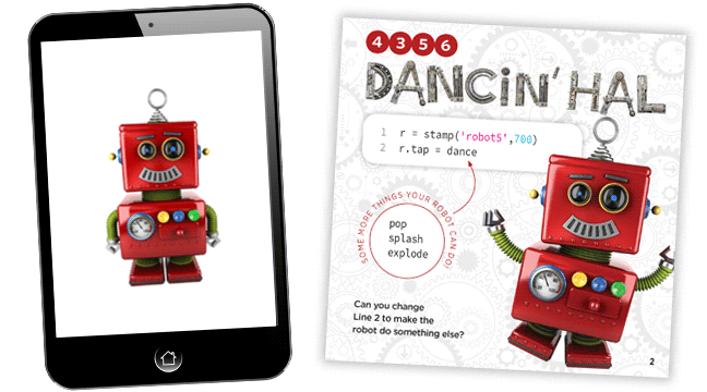 A simple app for kids to code, with Hal the dancing robot