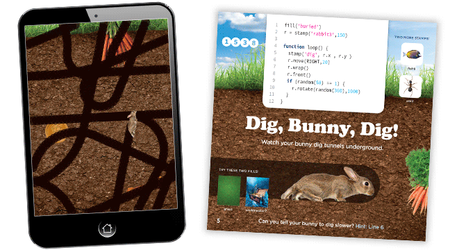 An example app for kids to code with a digging rabbit